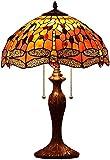 Bieye L30711 Lampada da Tavolo in Vetro Macchiato in Stile Tiffany Dragonfly con Paralume Largo 16 Pollici Realizzato a Mano per Soggiorno Comodino da Camera da Letto, Arancione, Alto 23 Pollici…, l