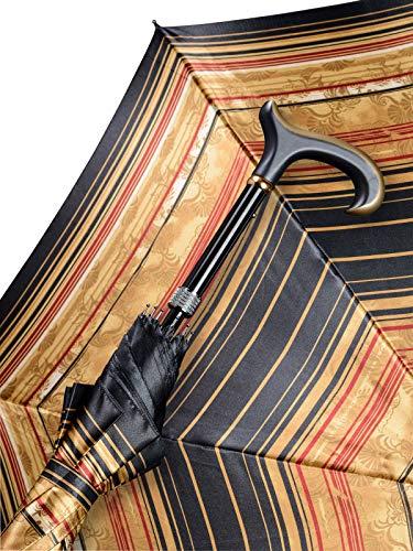 Automatik Stützschirm QUEEN MARY, seidenmatt lackierter L- Derby Holzgriff, Schirmdach aus klassischem Satinstoff, höhenverstellbar von 85-94 cm.