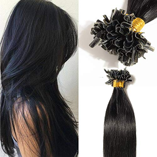 TESS Bonding Extensions Echthaar 1g 100% Remy Haarverlängerung 50 Strähnen Keratin Human Hair Extensions 50g/50cm(#1 Rabenschwarz)