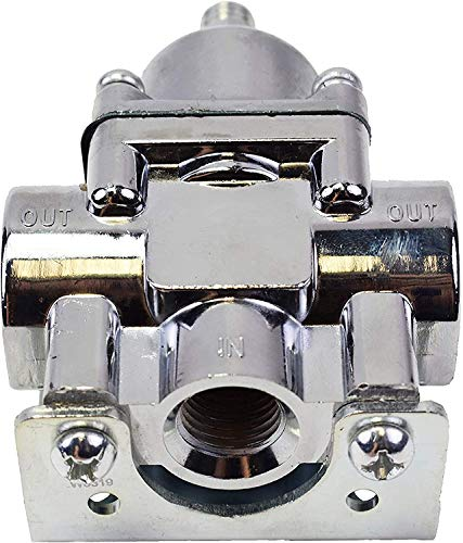 A-Team Performance Fuel Pump Fuel Pressure Regulator 4.5-9 PSI Gasoline Chrome Plated, 3/8' NPT Inlet And Outlet Ports, 7/32' Restriction With Mounting Bracket