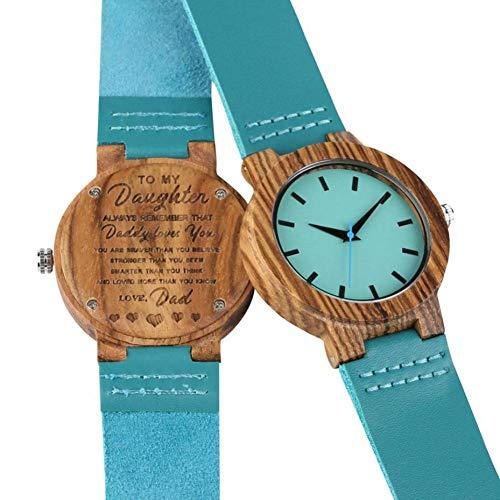 WRENDYY Reloj de Madera Regalos Familiares DIY Logotipo Personalizado Reloj para mi Hija Papá te Amo Reloj de Madera Chic Azul Cuero Niñas Mujeres Woody Quartz Watch