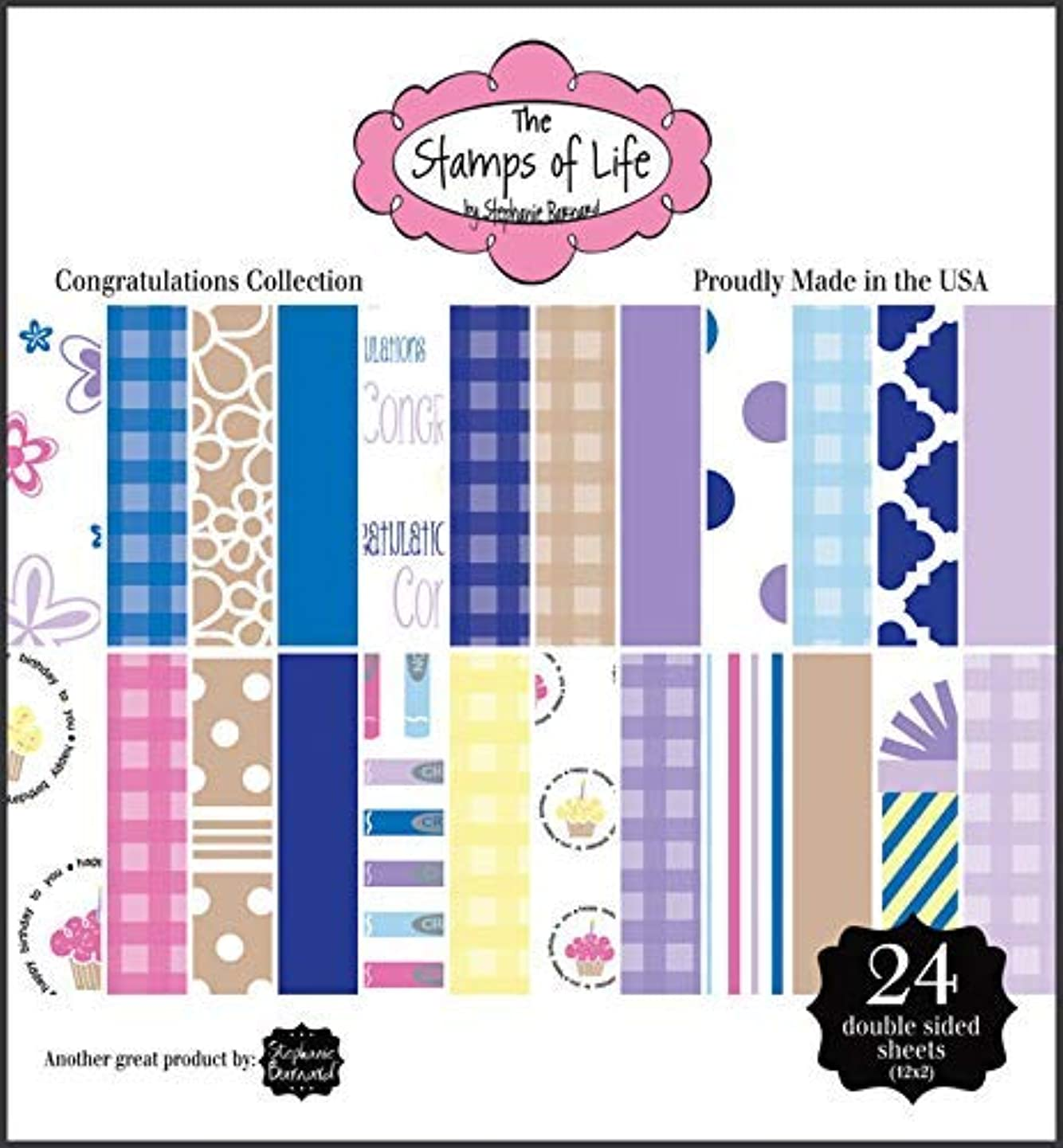 The Stamps of Life Congratulations Patterned Paper Pad 3-Pack for Card-Making and Scrapbooking by Stephanie Barnard
