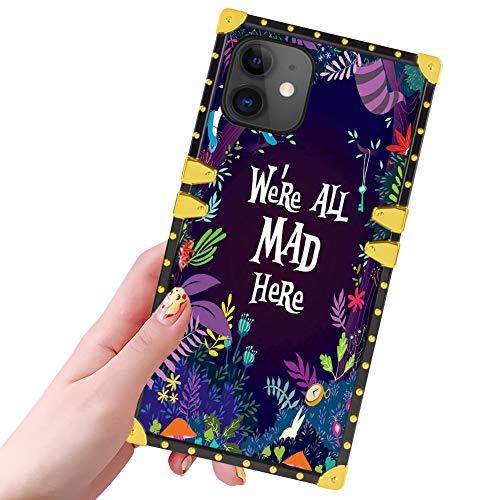 DISNEY COLLECTION iPhone 11 Case for Women Girls Alice in Wonderland Pattern Design Glitter Luxury Slim Shockproof Bumper Protective Cover for iPhone 11 6.1 inch