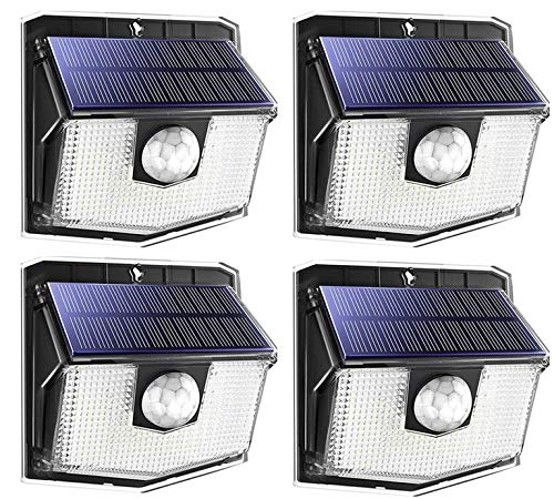 140 LED Solar Lights Outdoor, Mpow Motion Sensor Security Light with 3 Lighting Modes, 270°Wide Angle, IPX7 Waterproof Durable Solar Wall Lights for Front Door, Yard, Garage, Fence, Deck(4 Pack)