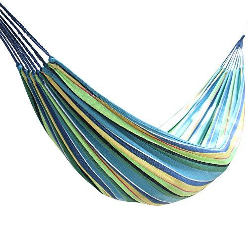 Greenbay Hängematte für 2 Personen, Leinen, für Garten, Hof, Strand, Reisen, Camping, Schaukel, mit Tragetasche, 200 x 150 cm, Mehrfarbig Blau