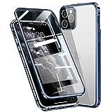Topmore Cover per iPhone 12 Adsorbimento Magnetico Paraurti in Metallo con 360 Gradi Protezione Case Doppi Lati Trasparente Vetro Temperato Flip Custodia per iPhone 12 (6,1'),Blu