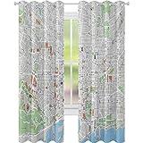 Cortinas térmicas con aislamiento, mapa de Barcelona City Streets Parks Subdistricts Puntos de interés, 52 x 84 cortinas para sala de estar, dormitorio, beige, verde lima y azul pálido