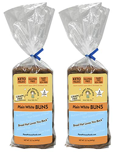 Planet Princess Keto Buns. Gluten Free, Grain Free, Low Carb, Protein Rich, Diary Free, Soy Free, and Non-GMO. Perfect as a Keto or Gluten Free Hamburger Bun. PACK OF TWO: 6 Buns Each (Plain White)
