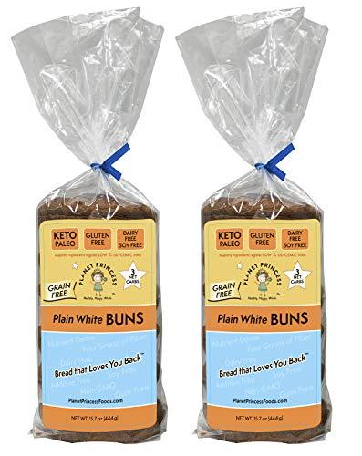Planet Princess Keto Buns. Gluten Free, Grain Free, Low Carb, Protein Rich, Diary Free, Soy Free, and Non-GMO. Perfect as a Keto or Gluten Free Hamburger Bun. PACK OF TWO: 6 Buns Each (Plain White)