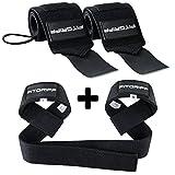 Fitgriff® Handgelenk Bandagen + Zughilfen (Set) - für Fitness, Krafttraining & Bodybuilding - für...