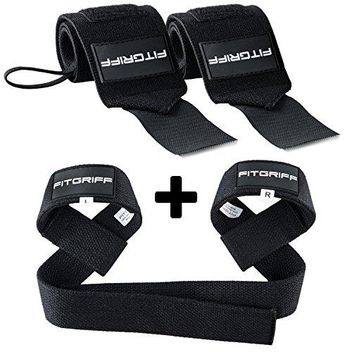 Fitgriff® Handgelenk Bandagen + Zughilfen (Set) - für Fitness, Krafttraining & Bodybuilding - für Frauen und Männer