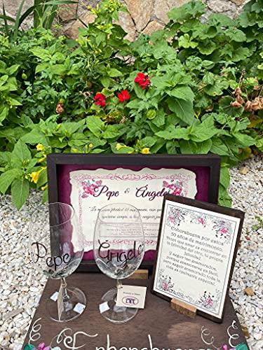 Regalo Boda de Oro o Boda de Plata personalizado y con dedicatoria personal vitrina y copas 25 o 50 aniversario