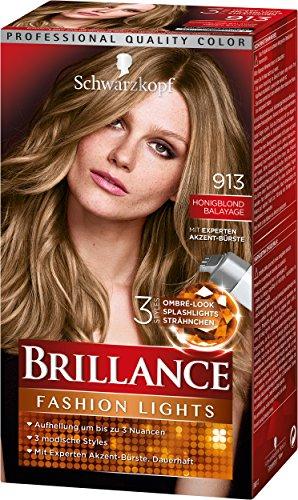 Schwarzkopf Brillance Intensiv-Color-Creme, 913 Honigblond Balayage Stufe 3, 3er Pack (3 x 113 ml)