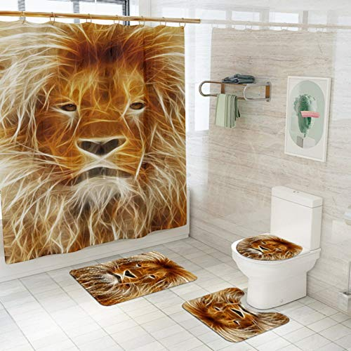 ZLWSSA Lion Head Fabric Shower Curtain King Of The Forest Non-Slip Rugs Toilet Lid Cover Bath Mat Curtains With Hooks B W180xH240cm