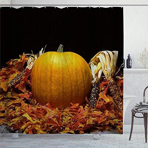 EricauBird Duschvorhang Thanksgiving Mais Modern Ahornblätter Duschvorhang mit Ringen Polyestergewebe Duschvorhänge mit Haken Bad Badezimmer Dekor 152,4 x 182,9 cm
