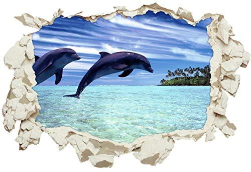 Unified Distribution Delfine springen in der Karibik - Wandtattoo mit 3D Effekt, Aufkleber für Wände und Türen Größe: 92x61 cm, Stil: Durchbruch