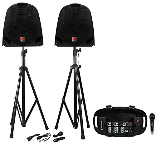 fender mixers Rockville GB1 Portable Powered PA System W/Mixer+Speakers+Stands+Mic DJ Package