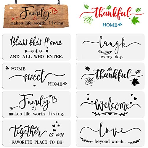 OOTSR 8 Stück Schablonen zum Malen auf Holz, DIY Schablonen Inspirierende Wort Schablonen für Malen, Kunststoff Schablonen Vorlagen für Scrapbooking, Holz Böden Kunst Dekorationen