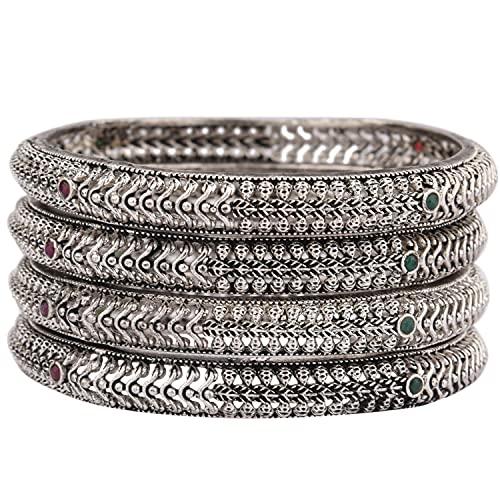 Efulgenz Indischer oxidierter Schmuck Boho Tribal Antik Armreif Armband für Frauen Mädchen, Stein Metall,