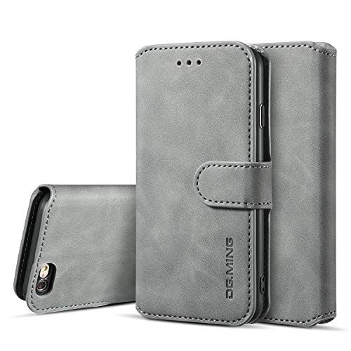 UEEBAI Handyhülle für iPhone 6 6S, Hülle Retro Premium PU Leder Weich TPU Klapphülle [Magnetverschluss] Kartenfach Standfunktion Anti Kratzern Flip Wallet Trageband Schutzhülle - Grau