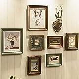 JIAJBG Colgante de Fotos de Fotos de Fotos Vintage M de Fotos M de Madera Conjuntos de M de Imagen, 7 Piezas Y 1 Set de Ornamentos Colgantes de Ciervos Decoración hogareña
