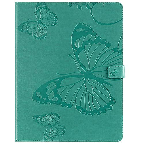 Sunrive Case For Samsung Galaxy Tab S4 10.5 Inch SM T830/T835, PU Leather tablet Holster Case Card Slot Flip Wallet Stand Function gel magnetic Protective Skin Cover (Butterfly embossing green)