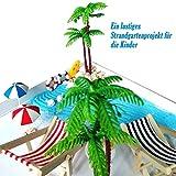 Strand-Mikrolandschaft Miniliegestuhl Strandkorb Sonnenschirm Kleine Palme Deko Accessoires, 16 Stück Miniatur-Ornament-Set für DIY Fee, Garten, Puppenhausdekoration, Einzigartiges Geschenk - 2