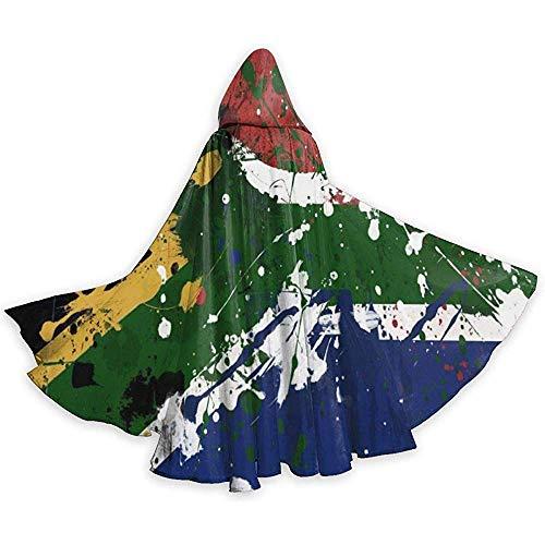Zome Lag capuchon voor volwassenen, Zuid-Afrikaanse vlag, uniseks, tunica, met capuchon, volledige lengte, voor Kerstmis, cosplay, party, zwart
