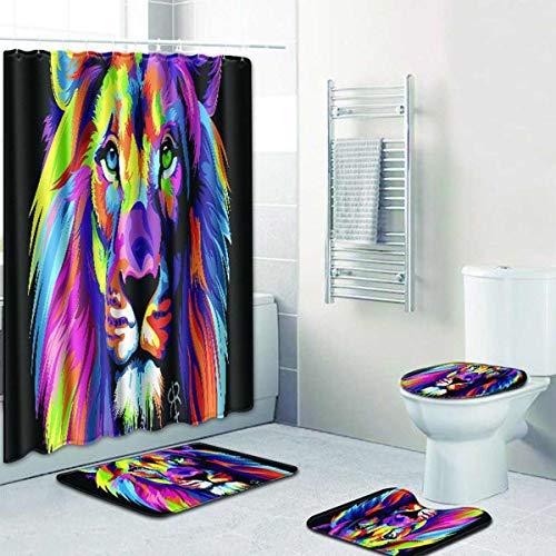 ZHEBEI Duschvorhang, wasserdicht, Polyester, WC-Deckelbezug, Badematten-Set für Badezimmer, Dusche, 4 Stück
