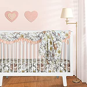 Sahaler Baby Crib Bedding Set for Boy Girl, Watercolor Floral Nursery Fitted Sheets Crib Rail Covers Fleece Plush Blanket 3 Pieces Set (Retro Chrysanthemum )