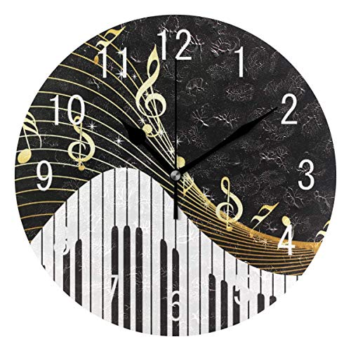 Gold Music Notes Piano Round Wall Clock Non Ticking Silent Clock Art for Living Room Kitchen Bedroom