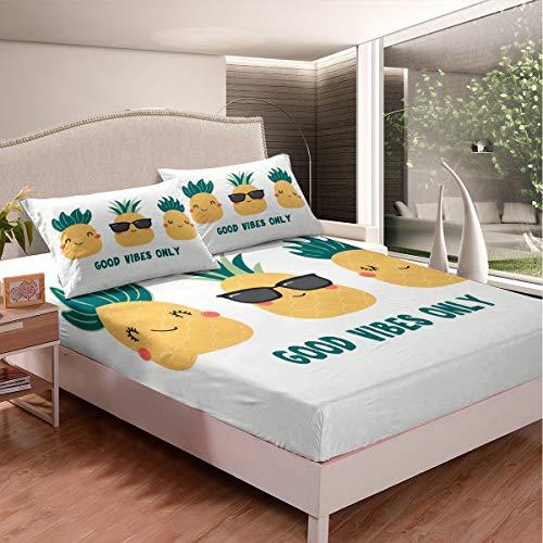 Loussiesd Juego de sábanas de piña con estampado de frutas tropicales, juego de sábanas de dibujos animados con patrón de piña para niños y adultos, funda de cama ultra suave, tamaño doble