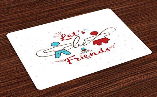ABAKUHAUS Beste vriend Placemat Set van 4, Sweetest Aanbieding Buddies, Wasbare Stoffen Placemat voor Eettafel, Deep Sky Blue Vermilion