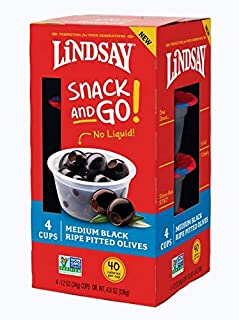 Lindsay Snack and Go! Medium Black Ripe Pitted Olive Cups, 4 Pack (Case of 4)
