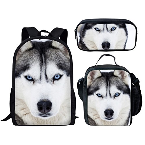 POLERO Siberian Husky Rucksack Unisex Teens High School und College, Bookbags + Lunch Bag + Federmäppchen, 3 Beutel in 1 (3 in 1 Rucksack Sets)