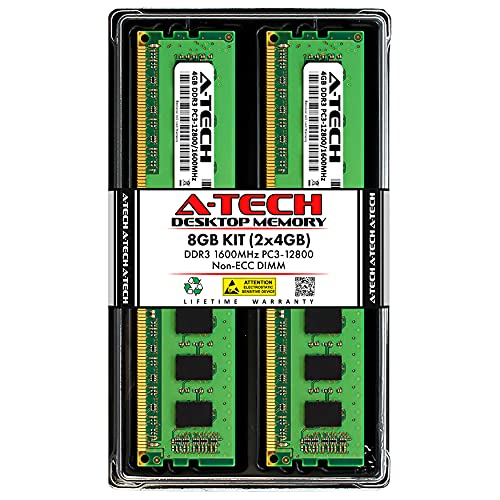 A-Tech RAM 8GB (2x4GB) DDR3 1600 MHz DIMM PC3-12800 (PC3-12800U) CL11 Non-ECC UDIMM 240 Pin – Desktop PC Computer Memory Upgrade Kit