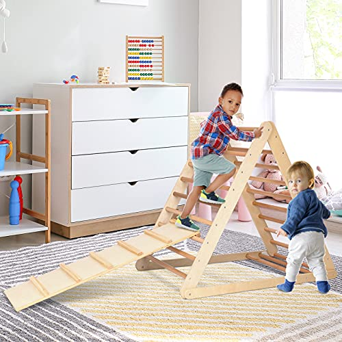 GOME Foldable Climbing Triangle Ladder with Ramp, 2-in-1 Wooden...