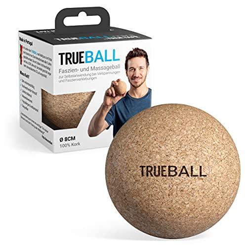TRUEBALL Faszienball - nachhaltiger Massageball aus 100{520547c119859a935bdf0eedab9b6479edd1403a01d654e4dc24d0ac453902a0} Kork zur gezielten Selbst-Massage | Mit Anleitungen für dein Faszien-Training | 8 cm Trigger Ball by TRUETAPE®