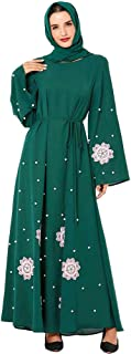 BaronHong Women's Elegant Gown Clothing Long Sleeve Embroidery Floral Beading Maxi Dress