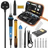 Soldering Iron Kit, 60W Adjustable Temperature Soldering-Iron Gun Kit Welding Tool with 5 Soldering Tips, Desoldering Pump, Tin Wire Tube, Soldering Iron Stand, Tweezers, Screwdriver
