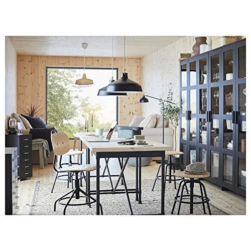 UK Bargain Seller KULLABERG Escritorio pino, negro, 110 x 70 cm, duradero y fácil de cuidar, hasta 4 asientos, mesas de comedor, escritorios, muebles, respetuoso con el medio ambient