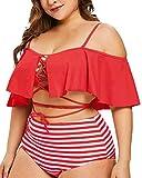 Hotelvs Donna Costume da Bagno Ruffle Vita Alta Bikini Set 2 Pezzi Tankini Taglie Forti