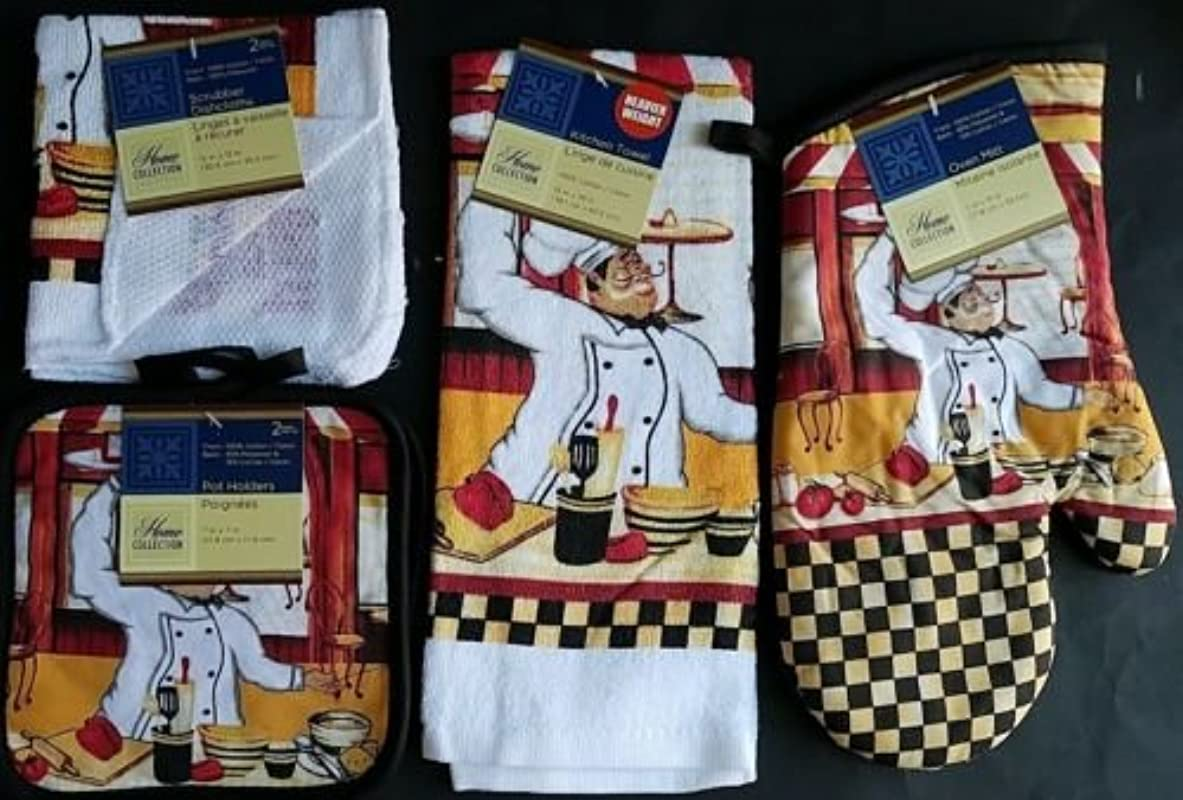 The Pecan Man Happy FRENCH CHEF Everyday Decor Kitchen Set Of 6 1 OVEN MITT 2 Pot Holders 2 Dish Cloths 1 Kitchen Towel