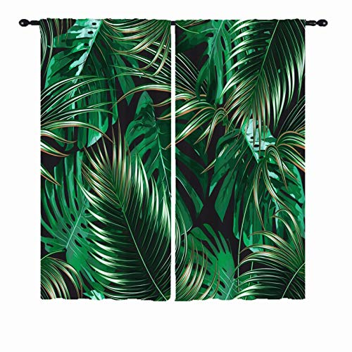 ANHOPE Tropical Curtains, Summer Palm Tree Banana Leaf Green Plant Pattern Semi Blackout Home Decor 3D Print Rod Pocket Window Drapes for Bedroom Living Room Patio Door Villa 2 Panels W29.5 x L65