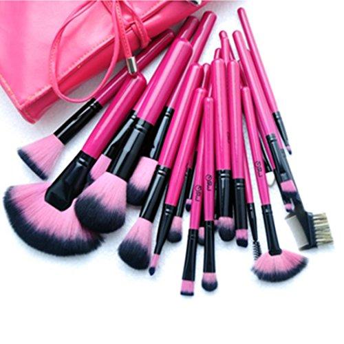 Deals Hot Pink 24 Piece Makeup Brush Set