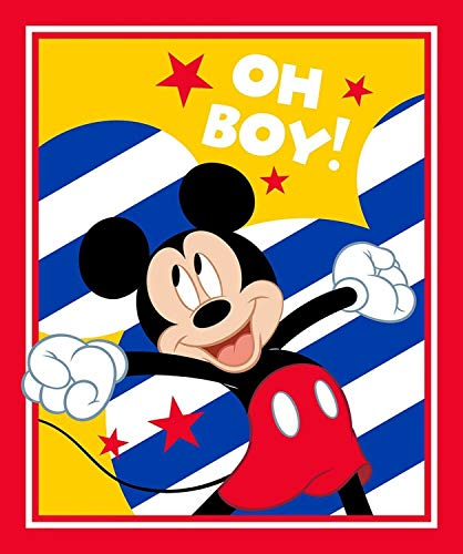 Springs Creative Disney Mickey Mouse Oh Boy Mickey 35' Panel Premium Quality 100% Cotton Fabric by The Panel.