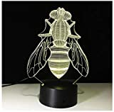 bee-3D Night Light LED Night Light for Kids 7 Color Changing Table Desk Lamp USB Charger Pretty Gifts for Birthday Christmas Valentine's Day and Holiday-Touch+Remote