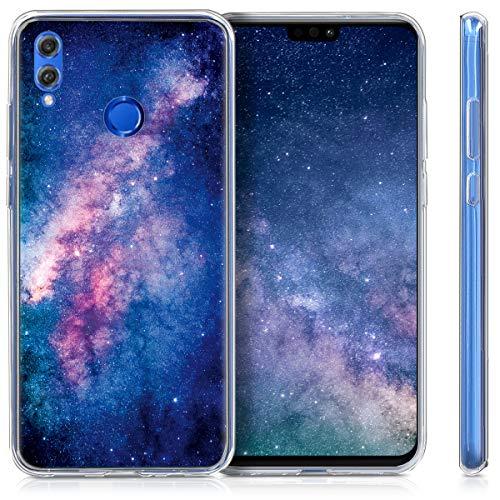 kwmobile Huawei Honor 8X Hülle - Handyhülle für Huawei Honor 8X - Handy Case in Galaxie Sterne Design Rosa Pink Dunkelblau - 4