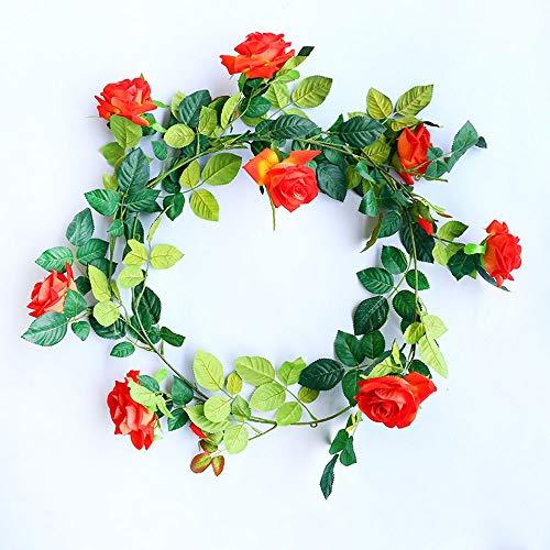 1 stuks × 180 cm kunstbloemen Vine Rose Garland zijden doek vervalste Ivy Vine Plant hangende kunstmatige voor bruiloftsdecoraties huistuin party decoratie simulatie bloem (kleur: ROSA) oranje