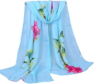 Fashion Scarfs for Women Hot Sale,DEATU Ladies Rose Long Soft Wrap Chiffon Scarf Shawl
